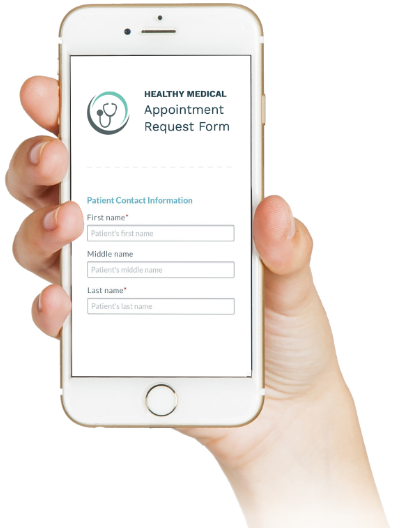 Woman holding her mobile phone displaying the Phreesia pediatrics Appointment Request Form screen